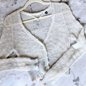 Knitted & Knotted Wispy Pointelle Ivory Cardigan